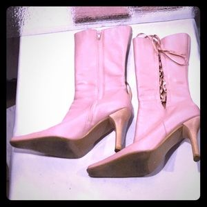 Light pink hi heeled boots